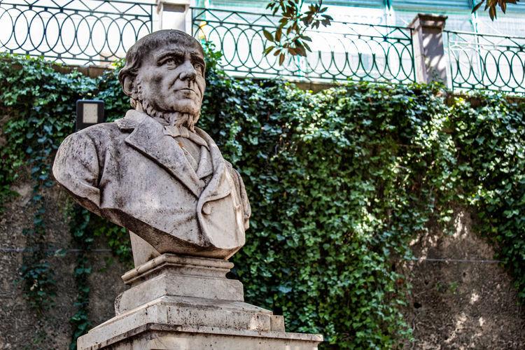 The bust of carmelo campisi, in the villa of ortigia, siracusa.