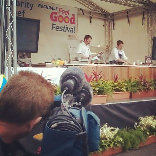 Mr Nutter demonstrating the fine art of chocolate brownies at the FeelGoodFestival