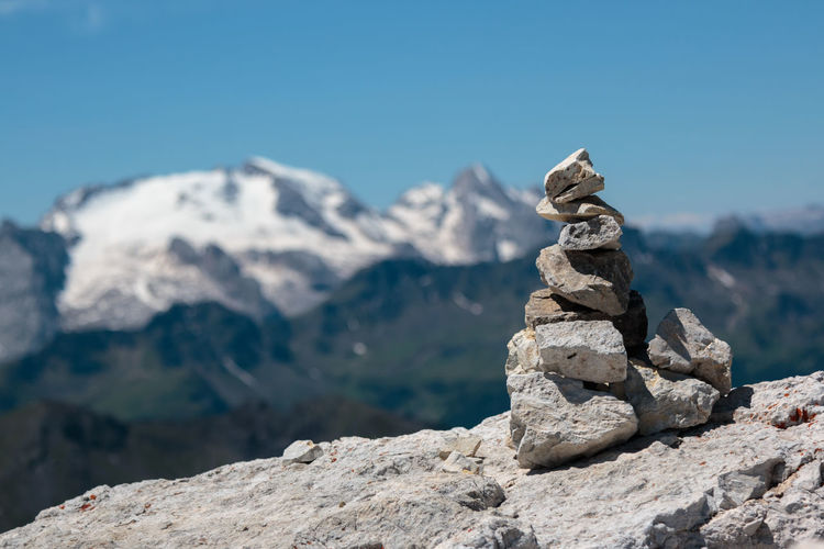Stack of rock against sky
