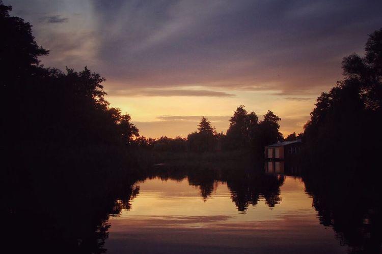Sunset on the water. Warnow Beautiful Sunset Snapseed Rostock