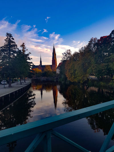 Uppsala Cathedral Uppsala Sweden Uppsala Domkyrka Politics And Government City Water Reflection Blue Sunset Flag Sky Architecture Place Of Worship Church Cathedral Postcard Religion Historic