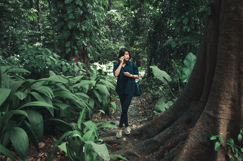 Full length of woman standing by tree in forest