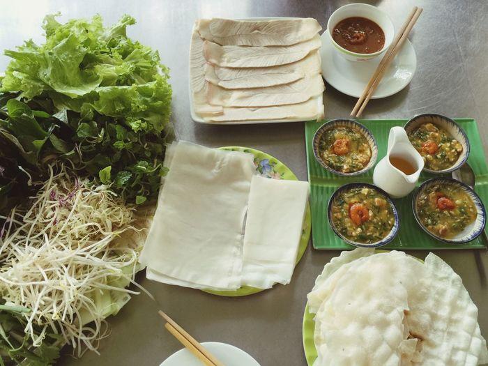 High angle view vietnamese food on table