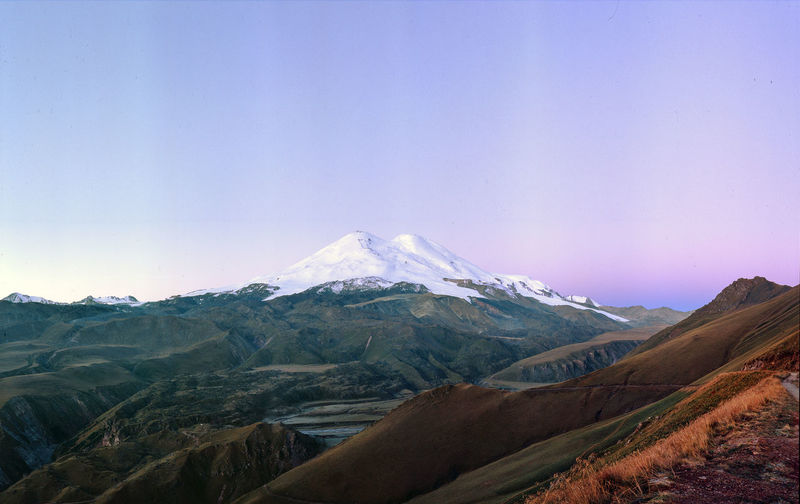 Majestic Elbrus, the Caucasus mountains, Russia Mountain Chain Nobody Blue Sky Inspirational View Panoramic View
