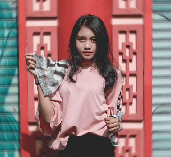 indo fashion #fashion #outfit #OOTD #Style INDONESIA Young Women Portrait Beautiful Woman City Beauty Red Standing