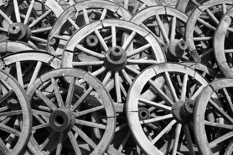 Full frame shot of old wheel