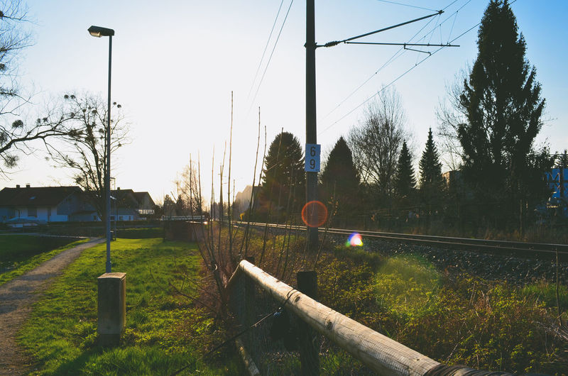 Cable Clear Sky Day Grass Nature No People Outdoors Power Line  Railway Rural Scene Sky Tree