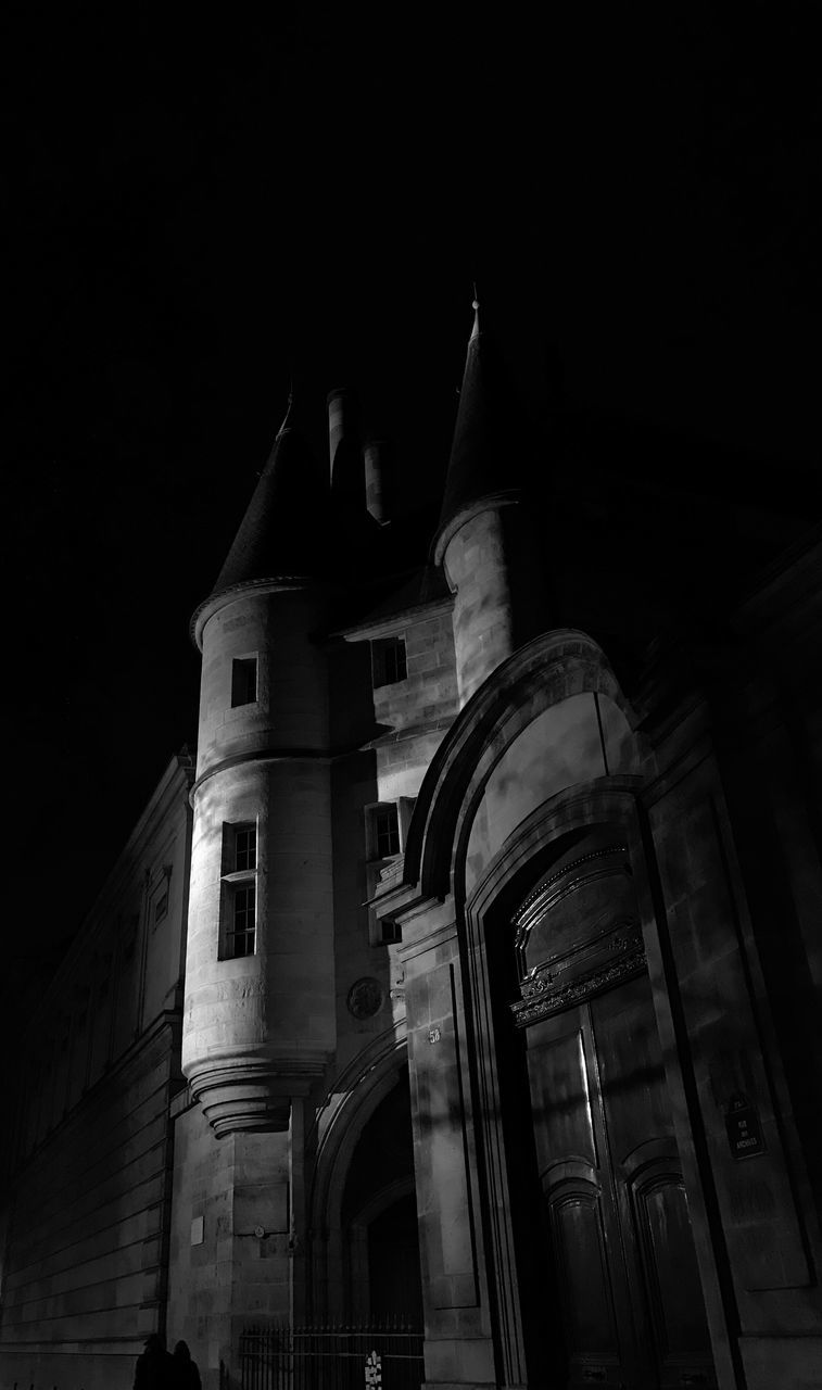 architecture, built structure, religion, place of worship, building exterior, low angle view, history, no people, spirituality, architectural column, night, outdoors, sky