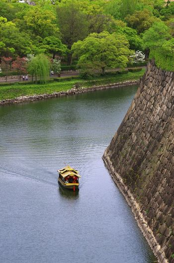 High Angle View Water Day Outdoors Green Color Lake Transportation Heritage 旅 Trip Photo Daytime Photography 大阪城 Osaka Castle Japan Photography Japanese Culture Sightseeing Stone Wall