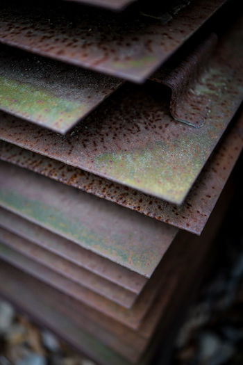 High angle view of rusty metal