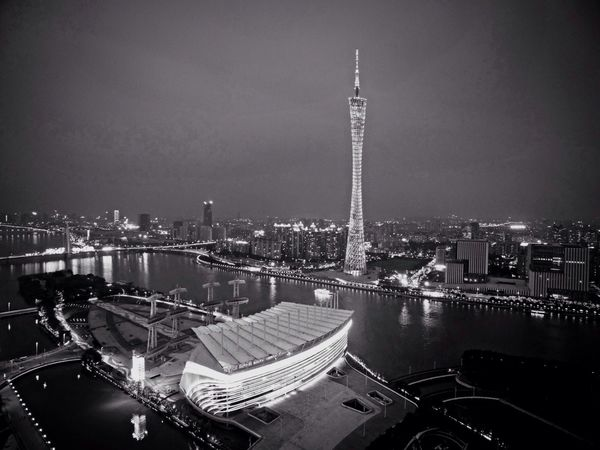 小蛮腰 Canton Tower Zhujiang New Town Guangzhou China Night Lights Aerial Shot Dji Night Building Check This Out