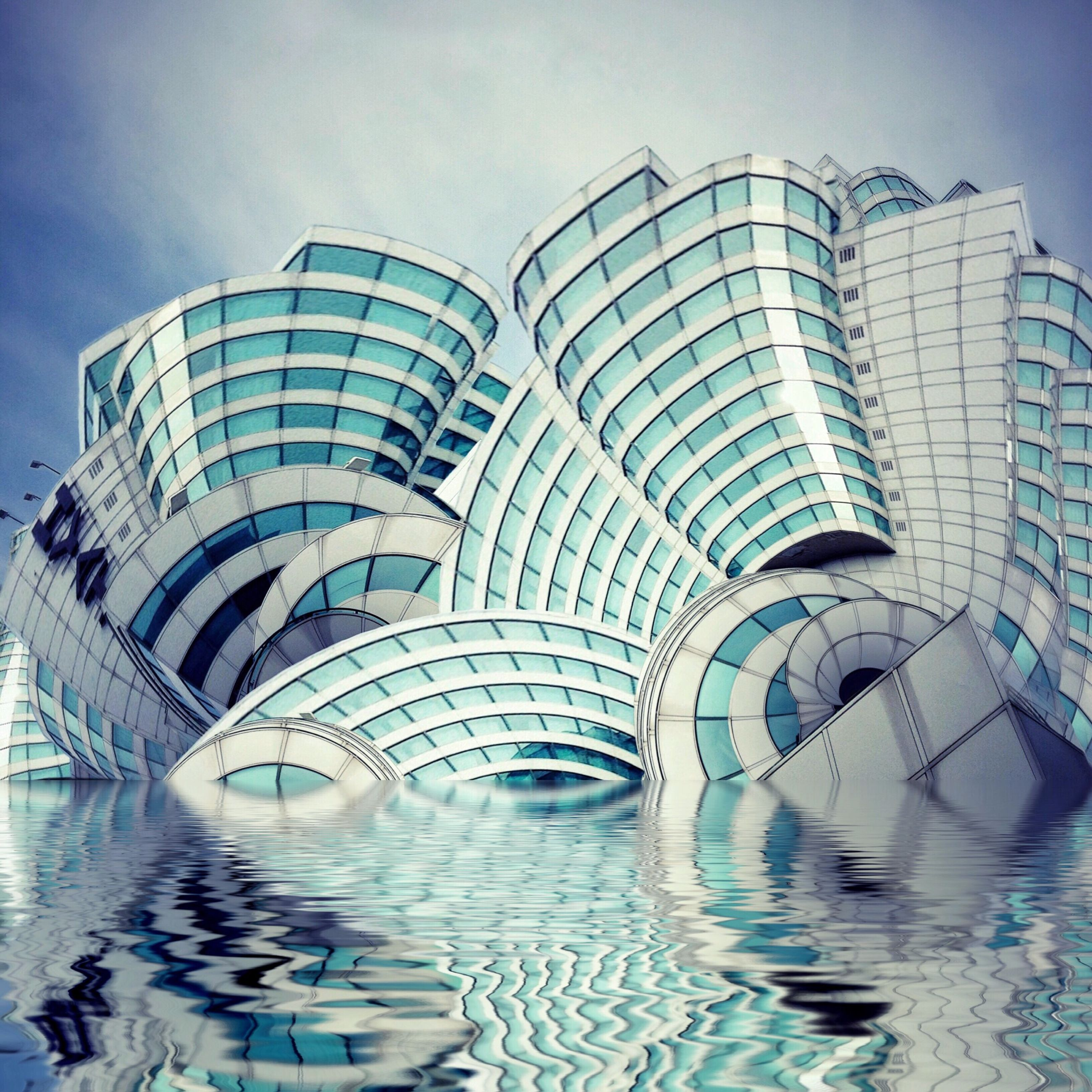 architecture, built structure, building exterior, water, reflection, modern, sky, city, building, blue, day, glass - material, travel destinations, sunlight, office building, outdoors, famous place, pattern, no people, capital cities