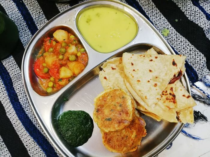 Indian homemade food Egg Yolk Plate Appetizer Homemade Directly Above Healthy Lifestyle Table Cooked High Angle View Close-up