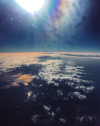 Nature Beauty In Nature Scenics Sunlight Tranquility Sky No People Aerial View Outdoors Tranquil Scene Cloud - Sky Day Airplane Sun Airplane Wing EyeEmNewHere