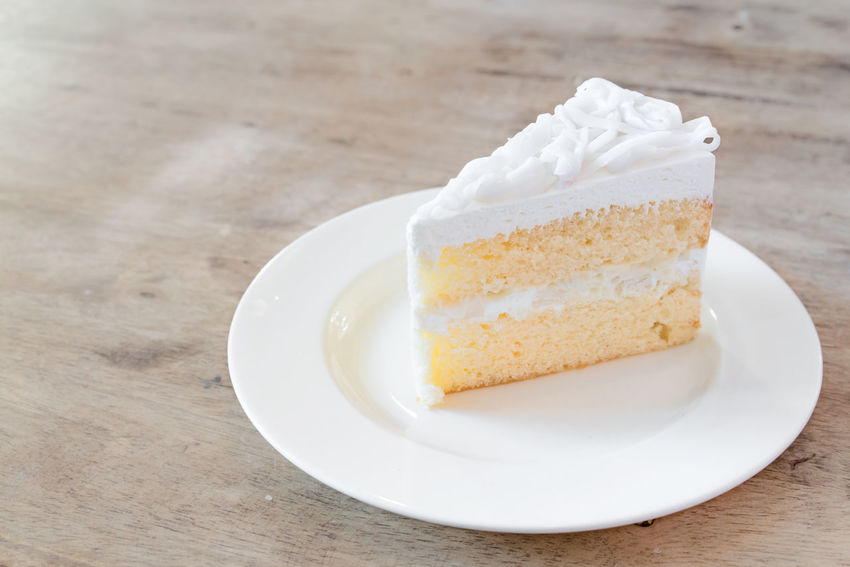 Coconut cake on white plate. Breakfast Coconut Cream Dessert Food Sweet Food Whipped Cream White White Color Yummy Market Reviewers' Top Picks