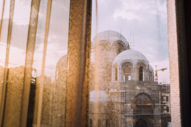 Cathedral seen through window