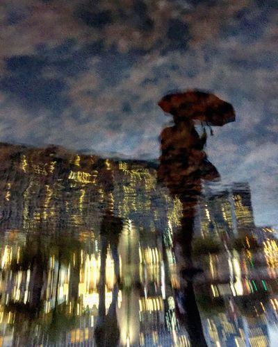 Umbrella Shadow Reflection Tree Sky Architecture Building Exterior Built Structure