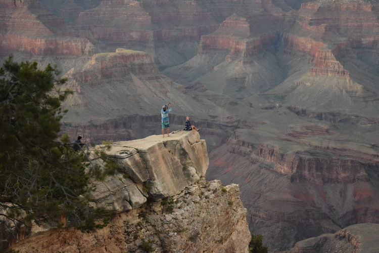 High Angle View Of People On Mountain At Grand Canyon National Park