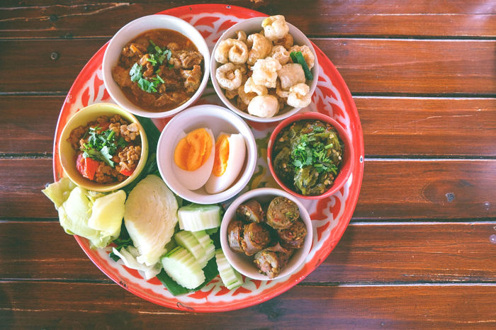 Food Set Thai Sausage Boiled Eggs Boiled Vegetables Bowl Close-up Day Food Food And Drink Freshness Healthy Eating High Angle View Local Food Meal Plate Ready-to-eat Table Thai Food