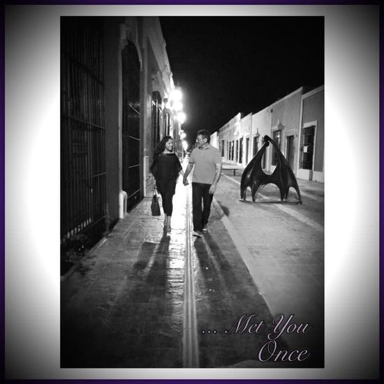 ... Meet You Once 💙 Campeche Mexico Lovecouple Man&woman Blackandwhite Walking On The Street In Love Together On The Streets Night Walking Together Colonial Architecture