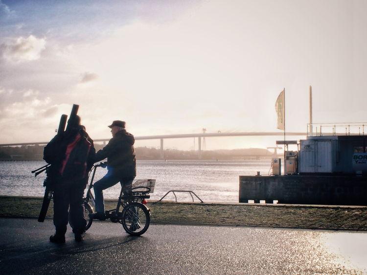 Fishermen... Rügenbrücke Morning Light Streetphotography Men Talking Bicycle EyeEm Selects Water Sea Full Length Sky Horizon Over Water Be Brave
