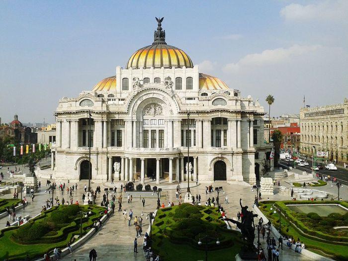 High angle view of tourists at palacio de bellas artes