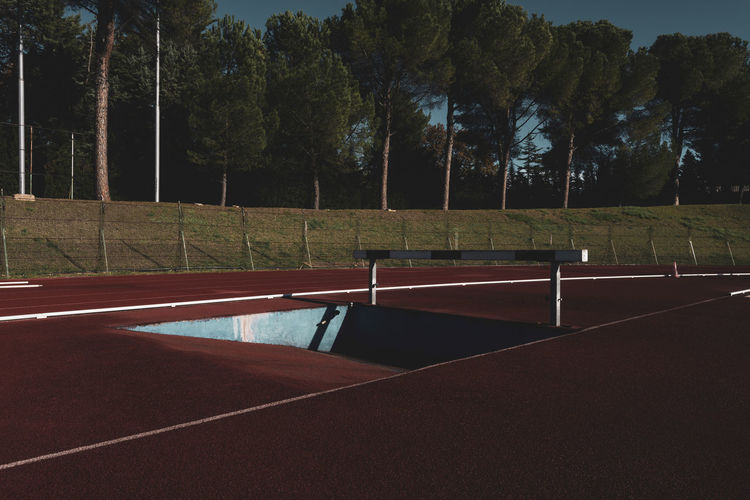 running track hurdle Tartan Track Athletics Sport Running Stadium Competition Speed Lanes Hurdle Hedge Obstacles Wooden Tree Plant No People Absence Empty Outdoors Playing Field Grass