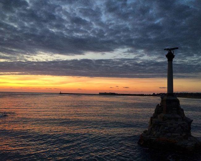 Sevastopol  Crimea Sunset Sea And Sky Water EyeEm Best Edits Nature Beauty In Nature Sea Sky Lighthouse Cloud - Sky Horizon Over Water No People Outdoors Scenics