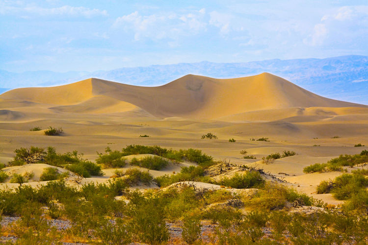 The Mesquite Flats Sand Dunes in the northern part of the Death Valley California Death Valley National Park Rolling Landscape USA Arid Climate Climate Cloud - Sky Desert Hill Idyllic Landmark Landscape Mountain Mountain Range Nature Outdoors Quartz Sand Waveform