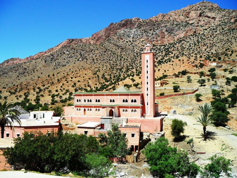 Morocco Montain  Blue Sky Landscape Architecture Idaougnidif Tafraout Greenery Amazigh Sousse Mosquee