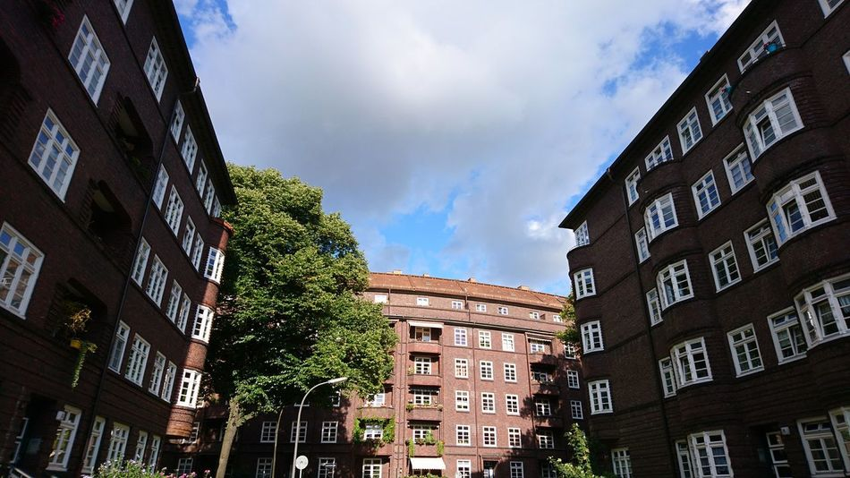 Barmbek in the summer. Hamburg Germany Hh Hansestadt Hamburg Hanseatic Architecture Bricks Brick Building Urban Landscape Cityscape Barmbek Summer Sunny Day Green Architecture Building Exterior Built Structure Low Angle View Travel Destinations Outdoors