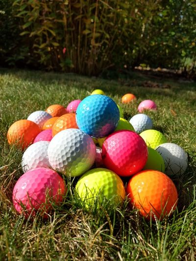 Multi colored colorful ball on grass