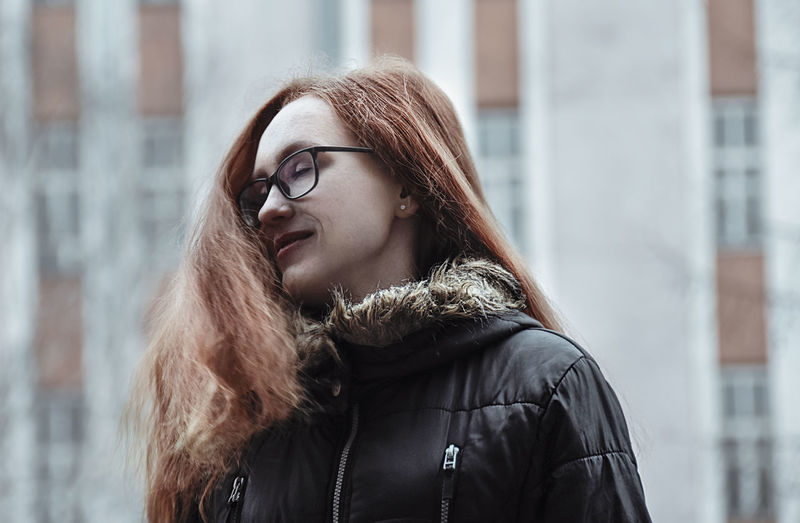 Alesya Gugaeva Redhead Adult Architecture Beautiful Woman Beauty Clothing Coat Cold Temperature Eyeglasses  Fur Coat Glasses Hair Hairstyle Jacket Leather Long Hair One Person Outdoors Portrait Warm Clothing Winter Winter Coat Young Adult Young Women