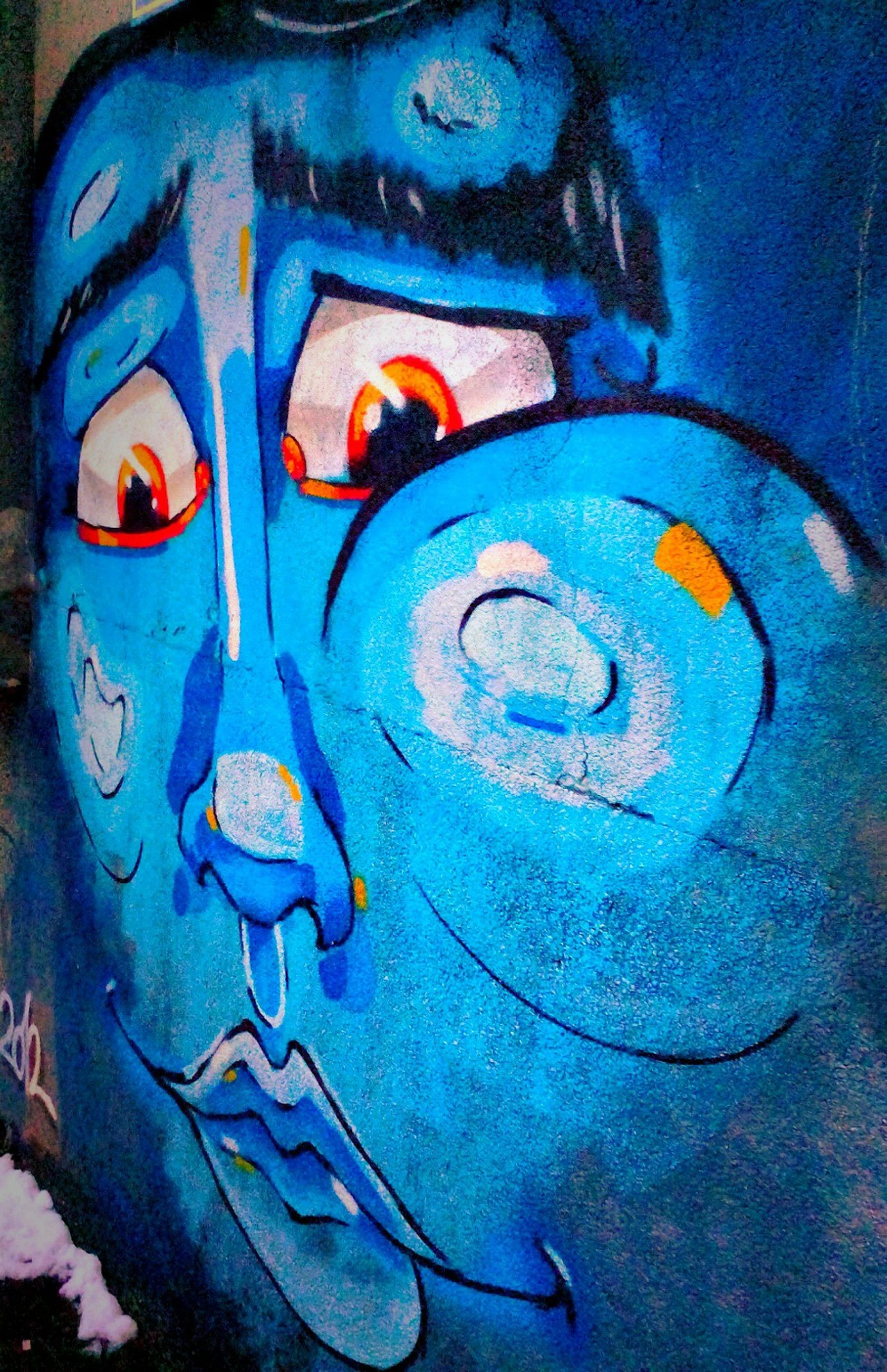 art and craft, creativity, art, graffiti, blue, weathered, close-up, human representation, wall - building feature, multi colored, abandoned, old, paint, run-down, damaged, no people, street art, deterioration, metal, animal representation