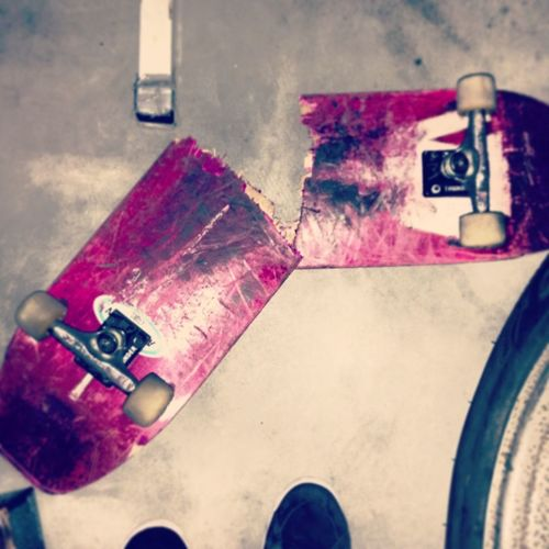 Skateboarding Skateboard Snapped Girl Sucks i cant go out & skate no more. Now i gotta wait for months to get a new one board cuz i'm out of money.