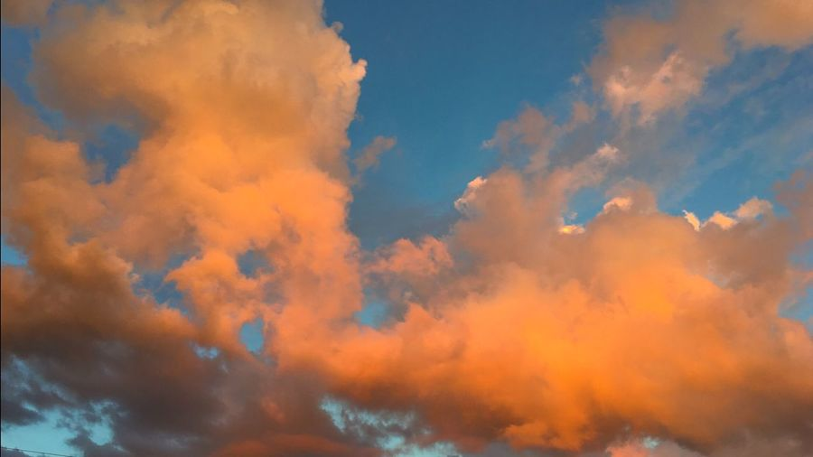 Clouds At Dusk Golden Orange Sunset Cloud - Sky Beauty In Nature Sky Only Low Angle View Dramatic Sky Tranquil Scene Tranquility Outdoors The Last Glimpse Of Sunlight-sunset My View Last Night  Sunset_collection Evening Sky The Colors Of Sunset Clouds After Rain