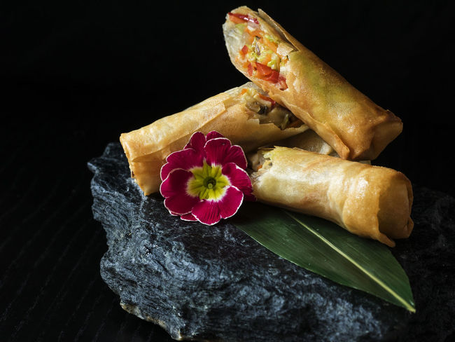 Asian-style Pancakes crunchy with vegetable filling, served on slate Asian  Asian-style Black Black Background Crunchy Filling Flower Food Freshness No People Pancakes Red Served Slate Stone Style Vegan Vegetable Vegeterian