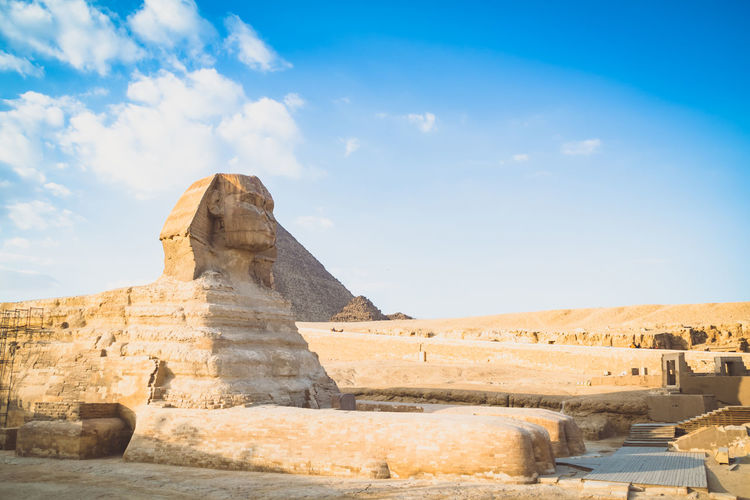 Sky Nature Day Outdoors Egypt Cairo Pyramids Giza Travel Trip Destination Ancient Structure Civilisation Old Pharaoh History The Past Travel Destinations Architecture Sphinx Ancient Civilization Tourism Cloud - Sky Built Structure