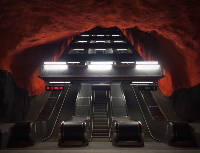 View of escalators in the subway