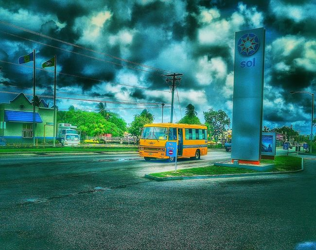 Reggae Bus Mode Of Transport My Commute Street Photography Man Made Object Vehicle Photography Dramitic Sky Clouds And Sky Great Outdoors Taking Photos Check This Out Hello World Welcome To My World EyeEm Gallery Barbados 2016
