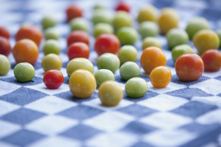 Close-up of multi colored tomatoes on table