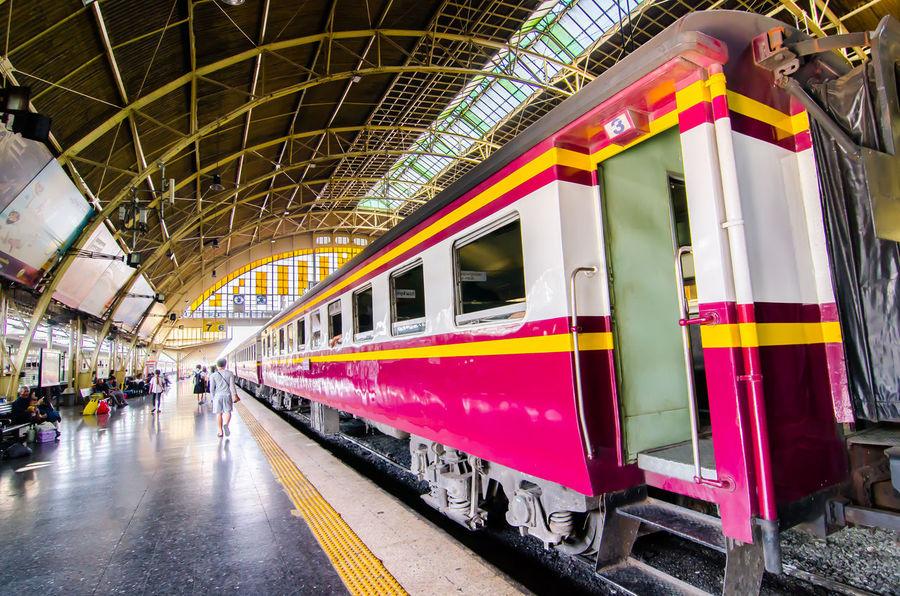 Hua Lamphong, or Bangkok Train Station, is the main terminal to northern, eastern, northeastern and southern Thailand. Bangkok Station Hua Lum Phong Thailand Transportation Traveling Landmark Platform Railway Station Track Train