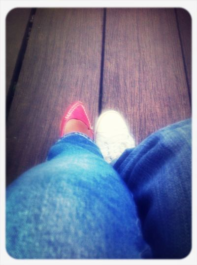 Jeans + red & white