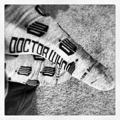 My valentine got these for me. To match my birthday tee shirt. ? Birthday Valentine Coolsocks Doctorwho