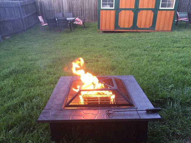 Backyard Fire Pit Flames Grass Poker Black Fire Logs Picnic Table