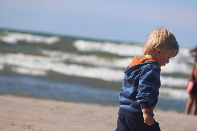 Cute Baby Childhood Beach Outdoors Internet Addiction Baby Boy Cute Boy Child