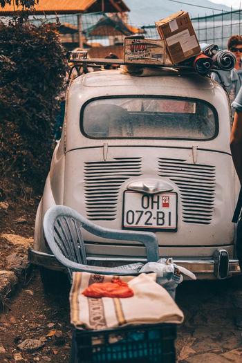 Close-up of old vintage car