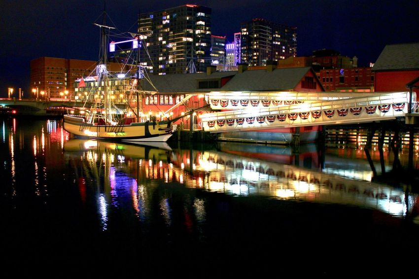Boston Tea Party Museum Night Illuminated Architecture Reflection Building Exterior Built Structure Water