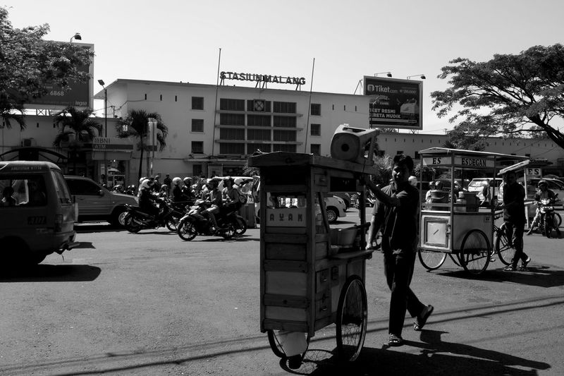 B&w Street Photography Black And White Busy Strangers Candid City Life Day Going Places INDONESIA Monochrome Travel Urban Lifestyle The Street Photographer - 2017 EyeEm Awards Kaki Lima Street Food Strideby Malang