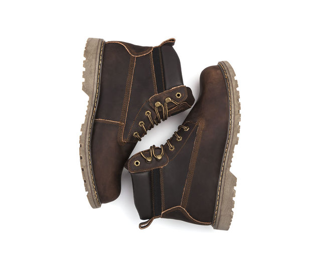 Brown Boots. Isolated On A White Background.